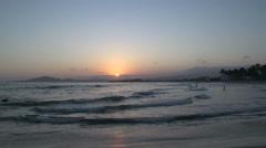 Sunset at the beach in Isabela, Galapagos Islands, Ecuador Stock Footage