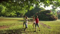 6of18 Children playing ring around rosie, young people, fun, park - stock footage