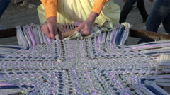 Historical rug making demonstration pioneer camp 4K 145 Stock Footage