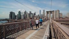 Brooklyn Bridge in New York City swing tilt down 4k Stock Footage