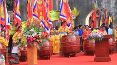 Stock Video Footage of performing drum in folk festival,  Asia