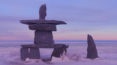A tradition Inuit stone sculpture at Churchill, Manitoba, Canada, Hudson Bay. - stock footage