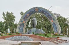 statue of rudaki. dushanbe, tajikistan - stock photo