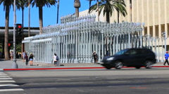 LACMA Lights With Traffic and Tourists. Museum of Contemporary Art Stock Footage