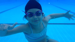 Underwater girl with swimming suit Stock Footage