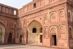 agra fort tourist destination in india - stock photo