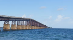 Old seven miles bridge in Florida, time-lapse with zooming out Stock Footage