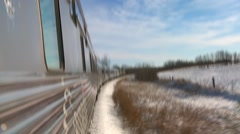 Stock Video Footage of POV of a VIA rail train passing through the Canada arctic.