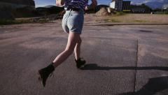 Girl Running in Urban Area Stock Footage