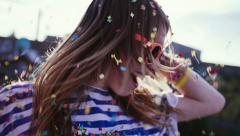 Teen Girl Dancing in Confetti, slow motion, close up Stock Footage