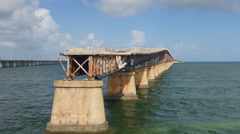 Old seven miles bridge in Florida, time-lapse Stock Footage