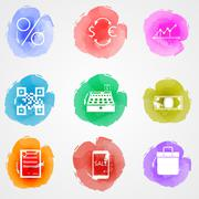 Creative colored icons for web finance market - stock illustration