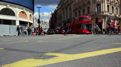 Picadilly Circus London Shaftesbury Avenue with Red Bus Stock Footage