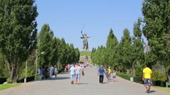 Monument of Motherland Calls in Volgograd Stock Footage