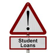 student loans caution sign - stock illustration
