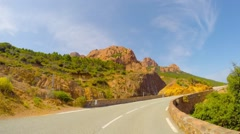 Road along the coast of France, time-lapse Stock Footage