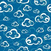 clouds seamless pattern - stock illustration