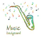 Saxophone music background with notes Piirros