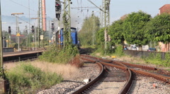 Old train is coming in Stock Footage