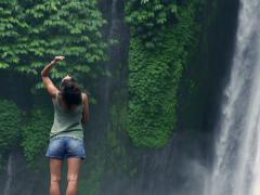 Woman dissolving hair and feeling free, slow motion shot at 240fps - stock footage