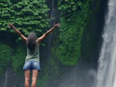 Woman dissolving hair and feeling free, slow motion shot Stock Footage