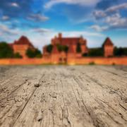 Wood textured backgrounds on the castle in Malbork - stock photo