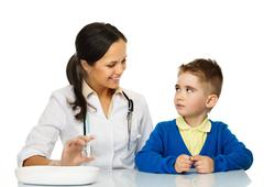 little boy at paediatrician doing vaccination paediatrician - stock photo