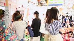 People on the Tokyo subway Stock Footage