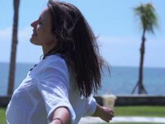Woman feeling free and spinning around, slow motion shot at 240fps Stock Footage