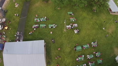 Aerial rural town annual festival and family reunion HD 006 Stock Footage