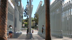 Tourists Outside Famous LACMA Lamps in Miracle Mile Stock Footage
