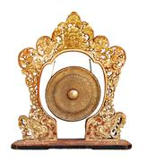 Traditional balinese gong - musical instrument isolated on white background.  Stock Photos