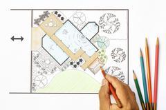 Landscape architect design water garden  plans for backyard Kuvituskuvat