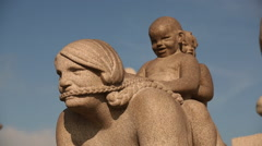 Vigeland Sculpture Frogner Park Oslo Norway slider Stock Footage