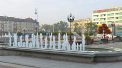The fountain in the center of the modern city in Victory square Stock Footage