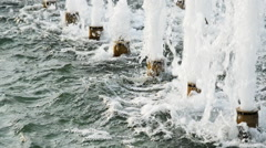 City fountain flow close-up Stock Footage