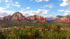 High And Wide Pan City Of Sedona Arizona And Mountains Stock Footage