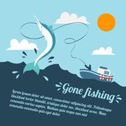 Kalastusvene juliste Piirros