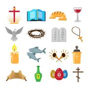 Christianity icons set - stock illustration