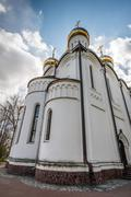 the diminishing perspective of the saint nicholas (nikolsky) cathedral - stock photo