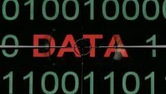 Web data text on binary data target Stock Footage