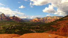 High And Wide Shot Of North Sedona To Oak Creek Canyon Stock Footage