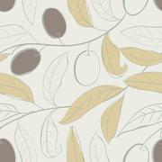 Olive seamless pattern. Stock Illustration