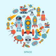 Space icons flat Piirros