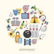 Entertainments icons set Stock Illustration