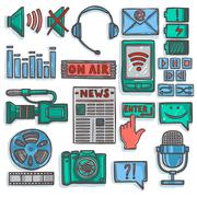 Media sketch icons set color Stock Illustration