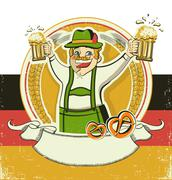 German man and beers.vintage oktoberfest  symbol on old paper texture. Stock Illustration