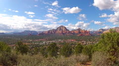 View Of Sedona Arizona From Airport Lookout With Mount Schnebly Wide Stock Footage