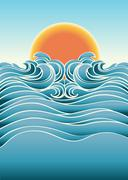 seascape abstract background with sunlight.vector color illustration - stock illustration