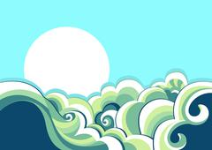 sea waves. vintage illustration of sea landscape - stock illustration